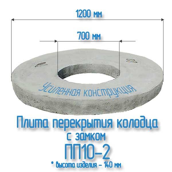 Плита ПП10-2 с замком для бетонных колец