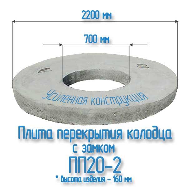 Плита ПП20-2 с замком для бетонных колец